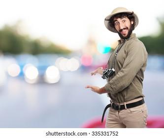 crazy explorer man showing gesture