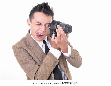 Crazy facial expression of a photographer, isolated on white background