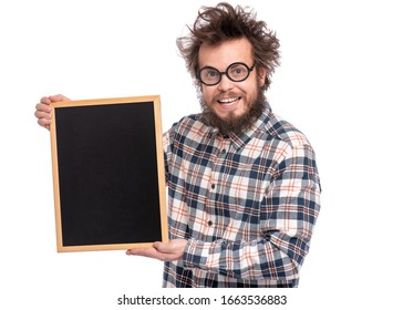 Crazy funny bearded man with tousled hair, scientist or professor in glasses holding teacher blackboard, isolated on white background.