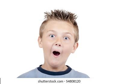 Crazy grimacing child, isolated on white background