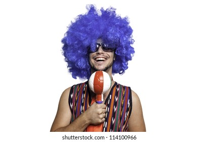 Crazy guy with blue wig on white background