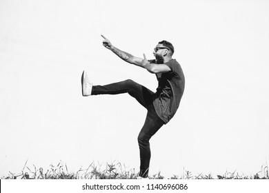 Crazy hipster guy emotions