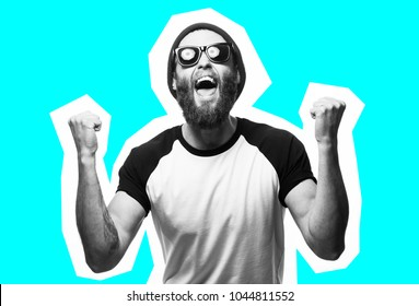 Crazy hipster guy emotions. Collage in magazine style . Fashion short. joyful emotions. Hipster man with beard wearing white blank t-shirt