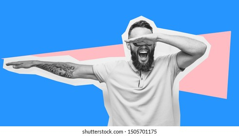 Crazy hipster guy emotions. Collage in magazine style with happy emotions. Discount, sale, season sales. Winner