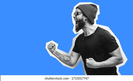 Crazy hipster guy emotions. Collage in magazine style with happy emotions. Discount, sale, season sales. Colorful summer concept.
