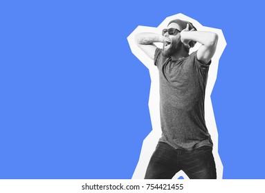 Crazy hipster guy emotions. Collage in magazine style . Fashion short. Hipster. joyful emotions. Here your text. Crazy hipster guy emotions. Discount, sale, season sale