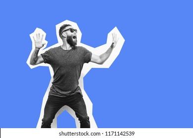 Crazy hipster man emotions