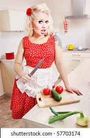 Crazy housewife with a knife, similar available in my portfolio