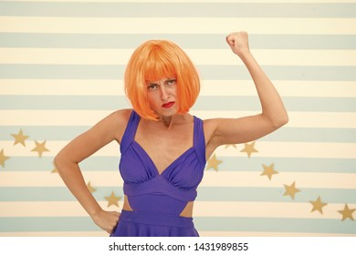 Crazy housewife with retro style. angry housewife is overworked at home and need help. Woman housewife with crazy look. Retro fit. Dress like lady.