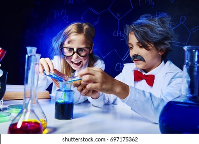 Crazy little scientists in laboratory