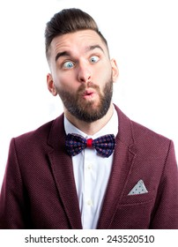 Crazy man with funny face wearing tie bow