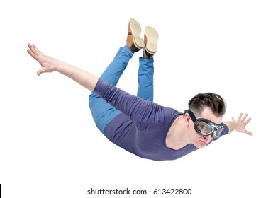 Crazy man in goggles is flying isolated on white background