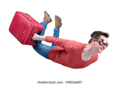 Crazy man in goggles and with red suitcase flies. isolated on white background. Concept of vacation