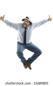 Crazy Man Jumping on white background .