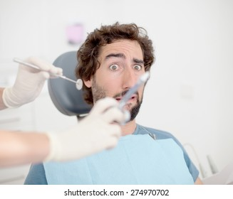crazy man with pain. dentist concept