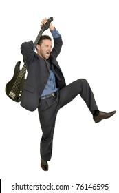Crazy man smashing a guitar isolated in white