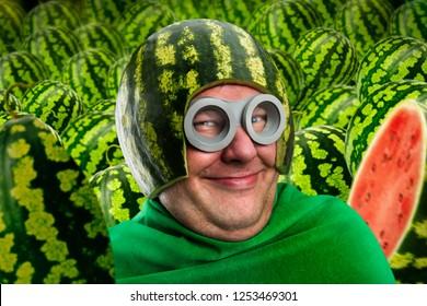 Crazy man in watermelon helmet and googles