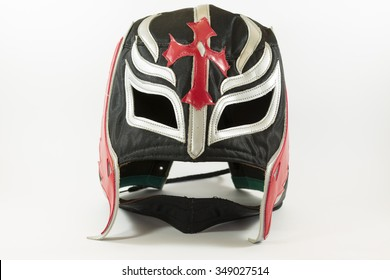 Crazy mexican wrestler mask on white background