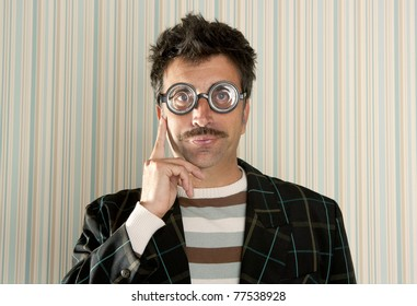 crazy nerd man myopic thinking gesture expression funny glasses man