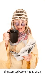 Crazy New-Age Woman in Yellow Robe with Coffee and Newspaper