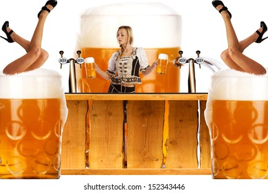 crazy oktoberfest creation with very sexy tiroler girl serving beer at the bar