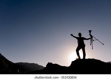 crazy photographer on the rocks