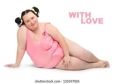 Crazy postcard with funny obese woman dressed in swimsuit. Picture with space for your text.