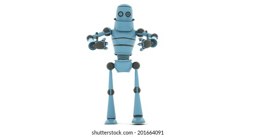 Crazy robot shows two thumbs up, 3d render