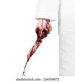 Crazy scientist with a bloody knife on the white background