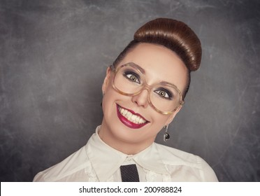 Crazy smiling woman in the eyeglasses
