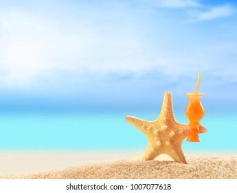 Crazy starfish having fun on summer beach. Summer concept.