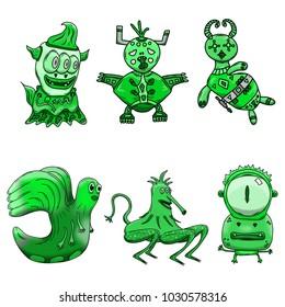 Crazy strange green space alien monster set of 6. Original hand drawn illustrations on white background.