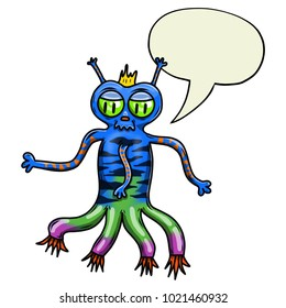 Crazy strange space alien or monster with speech bubble. Original colored illustration