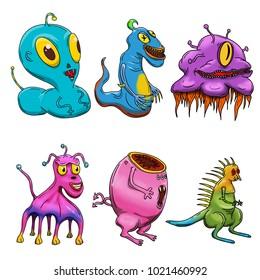 Crazy strange space alien or monster set of 6. Original colored illustrations