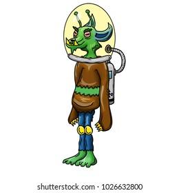Crazy strange space alien monster wearing a helmet. White background.  Original colored illustration