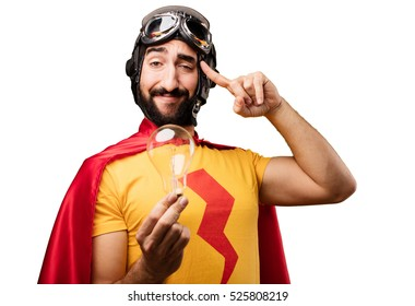 crazy super hero with bulb