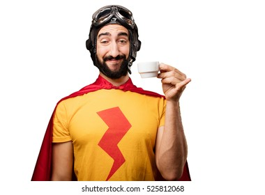crazy super hero with coffee cup