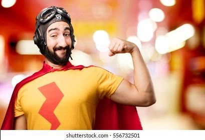 crazy super hero strong pose