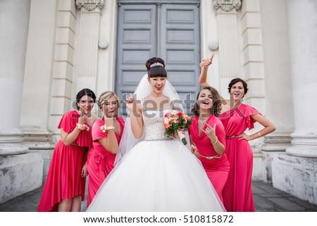 Crazy Wedding Bride Bridesmaids Identical Dresses Stock Photo Edit