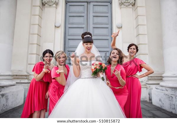 Crazy Wedding Bride Bridesmaids Identical Dresses Stock Photo