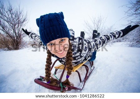 Crazy Woman Enjoy Sleigh Ride Woman Stock Photo Edit Now