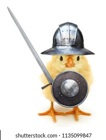 Crazy yellow chick medieval knight with helmet shield and sword funny baby animal joke poster