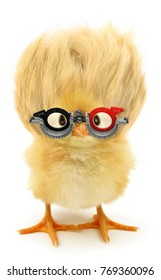 Crazy yellow chick nerd with ridiculous hair and ophthalmology glasses