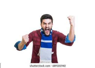Crazy young bearded football fan with white-blue color scarf tied on his neck showing his delight by victory