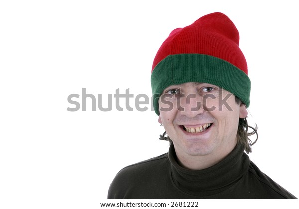 crazy young male supporter in a white background