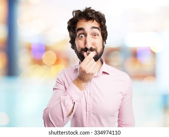 crazy young man with whistle