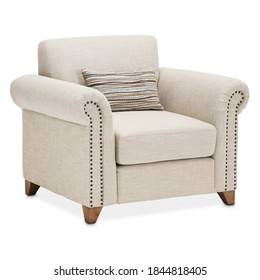 Cream Accent Chair Isolated on White. Gray Wingback Armchair. Modern Colorado Style Arm Chair Set Front View. Traditional Upholstered Club Chair with Armrests. Interior Furniture. Living Room Sofa