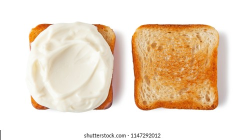 Cream cheese toasted bread, isolated on white background.
