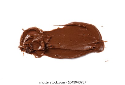 Cream chocolate spreading isolated on white background, with clipping path, top view
