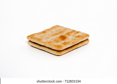 cream cracker biscuits over the white background.